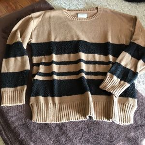 Your Neighbors Brown Sweater w/ Black Stripes